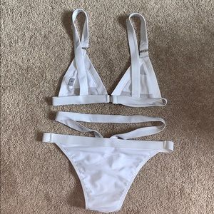 Swim - White mesh top bikini with strappy bottoms
